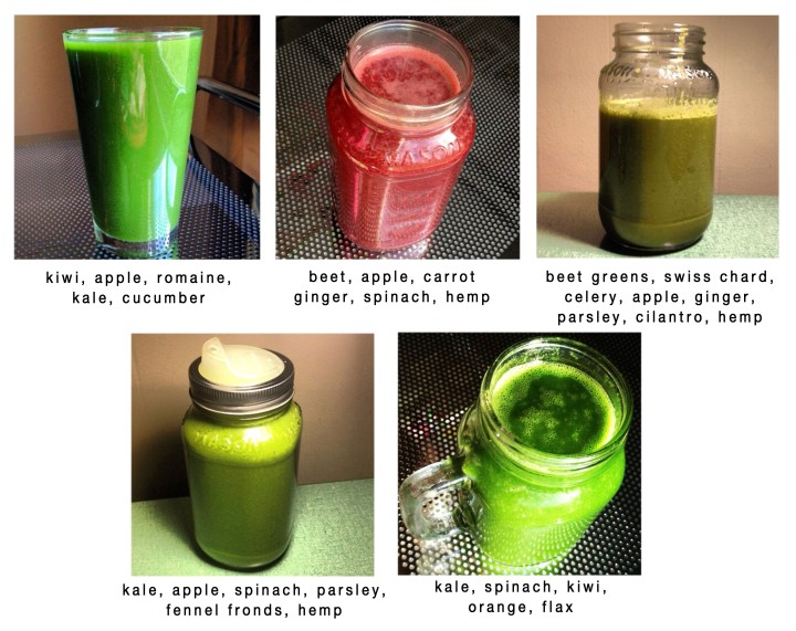 Various green drinks I've made in the past. Make sure to switch it up and keep it interesting!