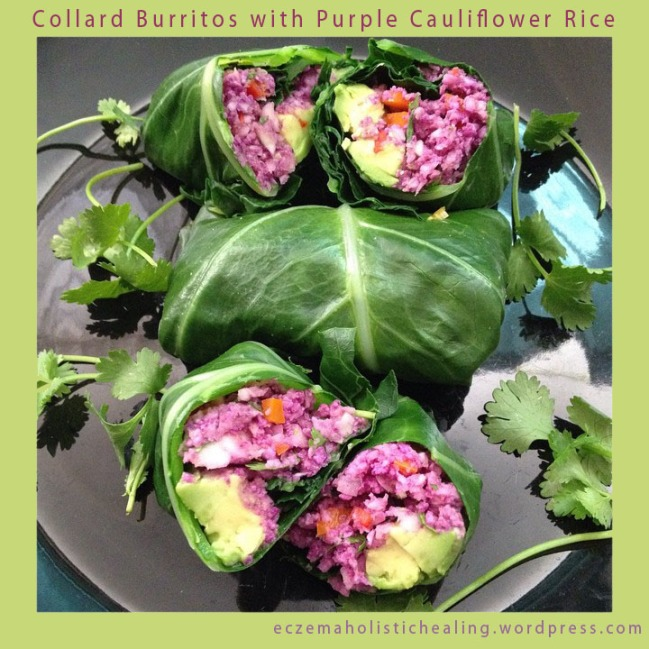 Collard Burritos with Purple Cauliflower Rice - eczemaholistichealing.wordpress.com