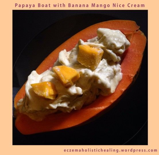 Papaya Boat with Banana Mango Nice Cream - eczemaholistichealing.wordpress.com
