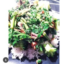 Stir-fry kale with asparagus served with basmati rice