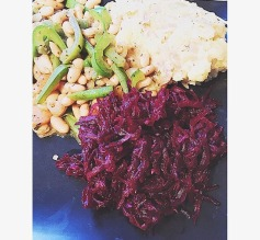 Mashed potato with cooked beetroot salad with stir-fry butter beans and pepper
