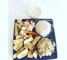 Baked veggies: zucchini, carrots, cauliflower, brown rice, mashed potato with spring onion served with hummus