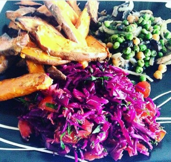 Baked potatoes with pea, chickpea mushroom stir-fry served with red cabbage salsa salad