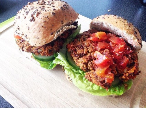 Gluten free vegan burgers made with brown rice, red kidney beans and sweet potato