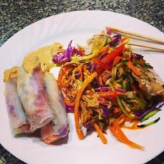 Veggie Pad Thai & Rainbow Spring Rolls with Sauce