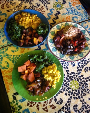 "Vegan Goodness at Kale Cafe: jerk mushrooms, teriyaki tofu, rice & peas, plantain, yams, curry chana & potatoes, kale salad and Mac and ""cheese"""